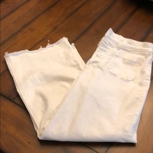 Express white cropped wide leg high waisted jeans